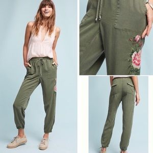 Anthropologie Postmark Embroidered Joggers